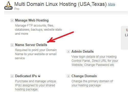 name server details